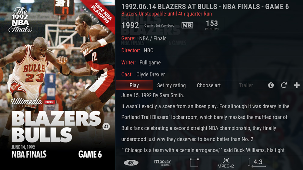 0a1ec78bfcd8 1992.06.03 Blazers at Bulls – NBA FINALS – Game 1. Jordan`s First-half ...